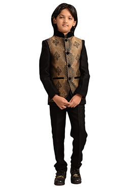 Ochre N Black Silk Blend Kids Suit