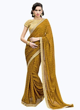 Ochre Satin Chiffon Border Saree