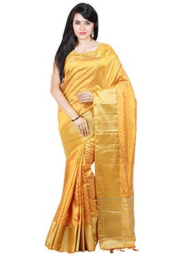 Ochrish Orange Tussar Silk saree