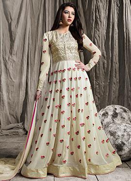 Off White Abaya Style Anarkali Suit