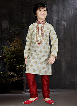 Off White Art Benarasi Silk Kids Kurta Pyjama