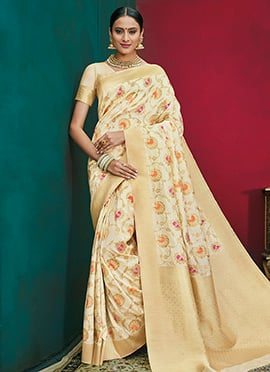 Off White Art Benarasi Silk Zari Woven Saree