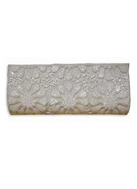 Off White Art Dupion Silk Clutch
