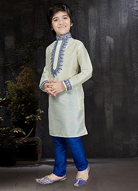 Off White Art Dupion Silk Kids Kurta Pyjama