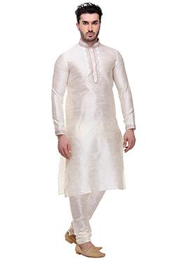 Off White Art Dupion Silk Kurta Pyjama