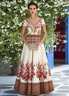 Off White Art Silk Anarkali Gown