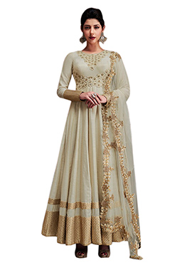 Off White Art Silk Anarkali Suit