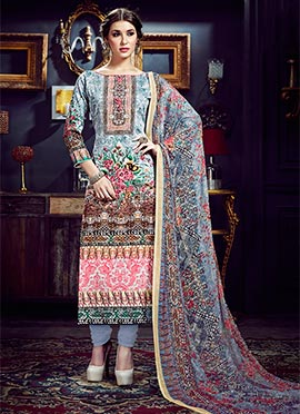 Multicolored Art Silk Cotton Straight Suit
