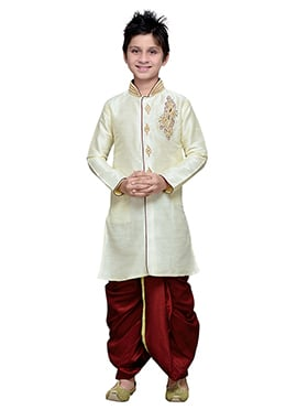Off White Art Silk Hand Work Boys Dhoti Kurta