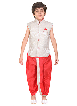 Off White Art Silk Kids Dhoti Kurta
