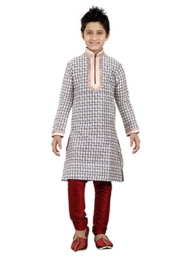 Off White Art Silk Kids Kurta Pyjama