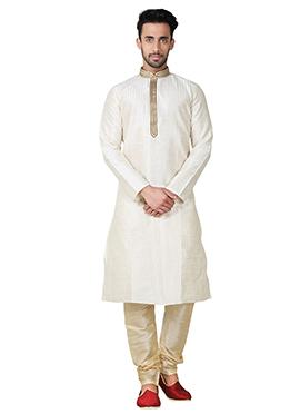 Off White Art Silk Kurta Pyjama