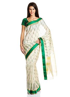 Off White Art Silk Paisley Designed Printed Saree