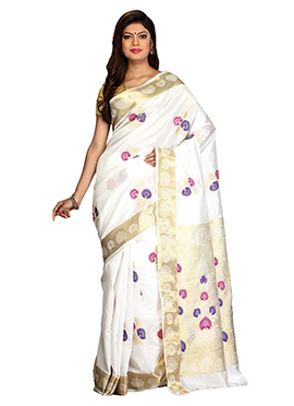 Off White Art Silk Saree