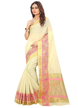 Off White Art Tussar Silk Saree