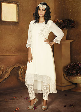 Off white Asymmetric Layered Kurti