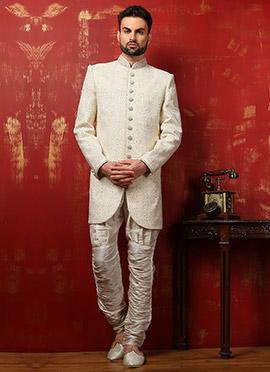 Off White Benarasi Silk Breeches Style Achkan Sherwani