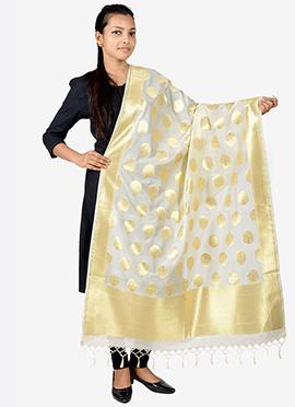 Off White Benarasi Silk Dupatta