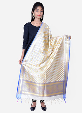 Off White Benarasi Silk Dupatta