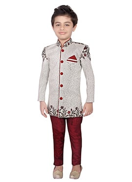 Off White Blended Cotton Kids Breeches Style Sherwani