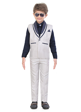 Off White Blended Cotton Kids Suit