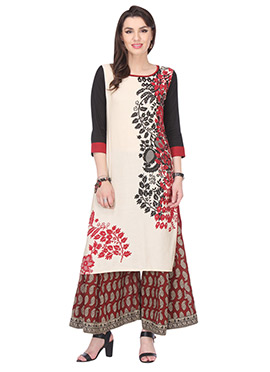 Off White Blended Cotton Printed Kurti