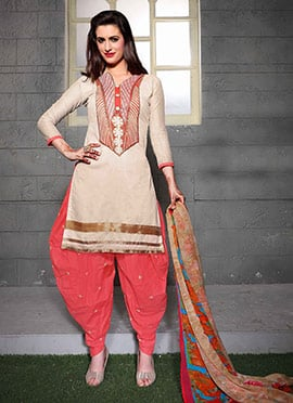 Off White Blended Cotton Salwar Suit