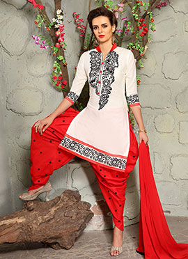 Off White Blended Cotton Dhoti Suit