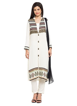 Off White Blended Cotton Straight Pant Suit