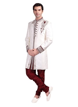 ddefd1d4291 Off White Brocade Breeches Style Sherwani
