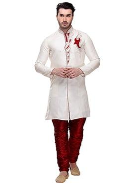 Off White Brocade Breeches Style Sherwani