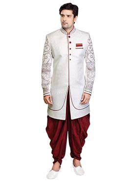 Off White Brocade Dhoti Style Sherwani