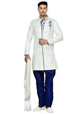 Off White Brocade Indowestern Kurta Pyjama