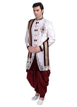 Off White Brocade Patiala Style Sherwani