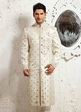 Off White Brocade Sherwani