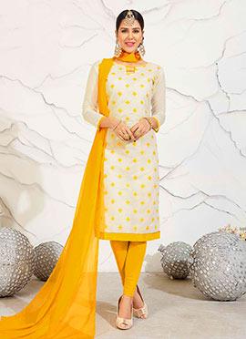 Off White Chanderi Cotton churidar Suit