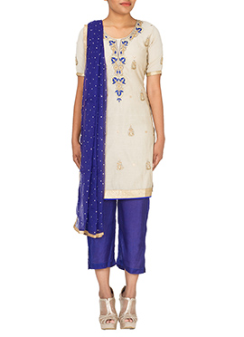 Off White Chanderi Cotton Straight Pant Suit