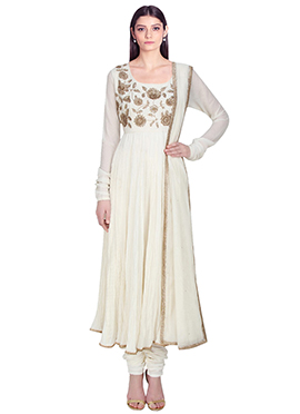 Off White Chiffon Anarkali Suit