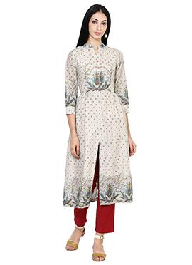 Off White Cotton Anarkali Shape Kurti