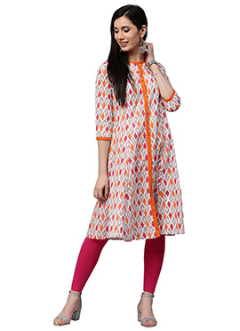 Off White Cotton Knee Length Kurti
