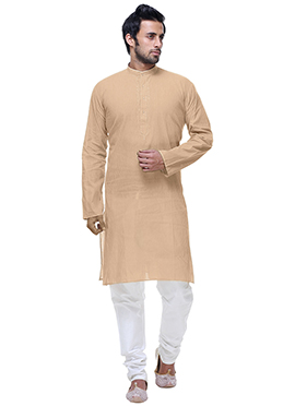 Off White Cotton Kurta Pyjama