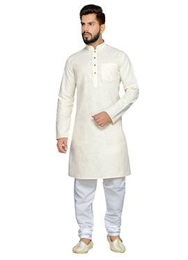 Off White Cotton Kurta Pyjama