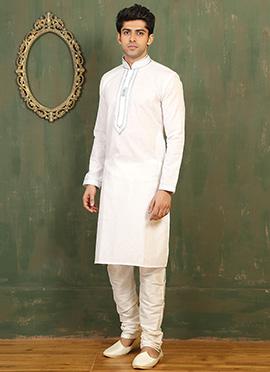 Off white Cotton Linen Kurta Pyjama