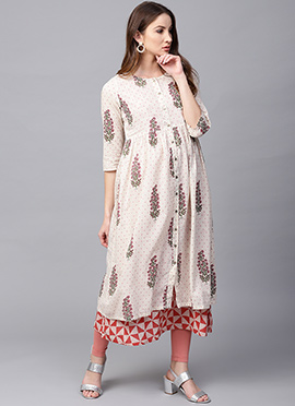 Off White Cotton Long Kurti