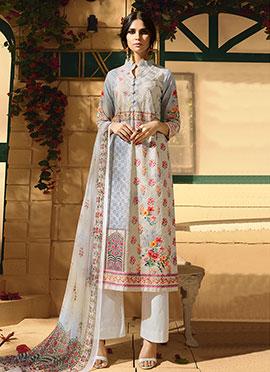 Off White Cotton Palazzo Suit