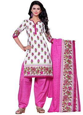 Off White Cotton Printed Salwar Suit