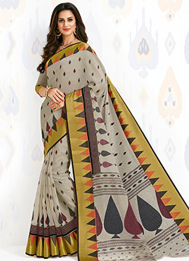 Beige Cotton Saree