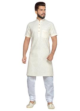 Off White Cotton Half Sleeve Kurta Pyjama