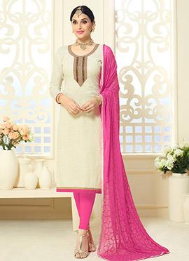 Off White Cotton Silk Straight Suit