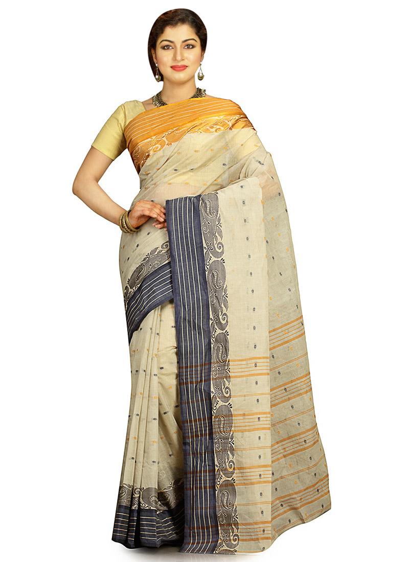 f221b60d83 Buy Off White Cotton Tant Saree, Tangail, sari Online Shopping ...